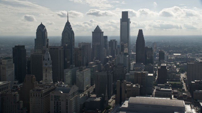 5K stock footage aerial video approaching tall towers in Downtown Philadelphia, Pennsylvania Aerial Stock Footage | AX79_058