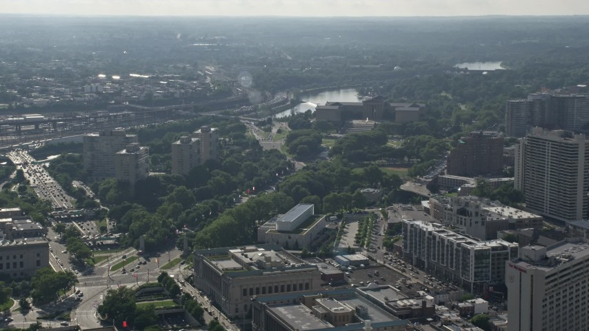5K stock footage aerial video of Benjamin Franklin Parkway leading to Philadelphia Museum of Art, Pennsylvania Aerial Stock Footage | AX79_059
