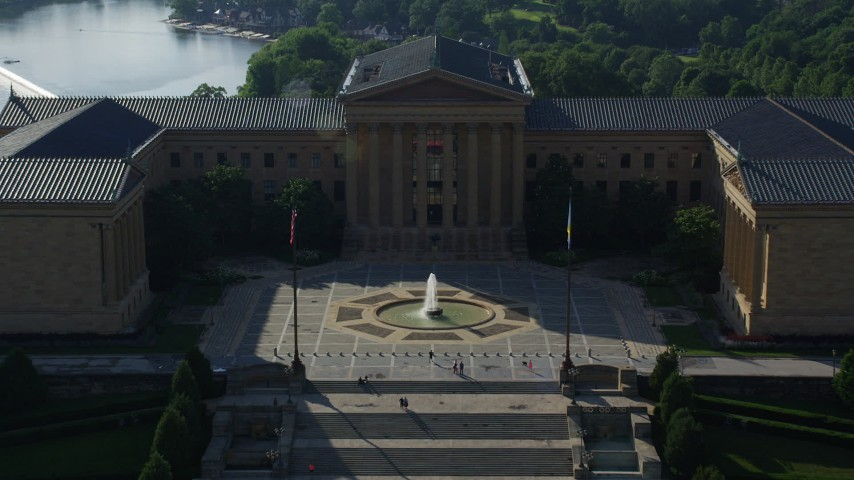 5K stock footage aerial video flying over the Philadelphia Museum of Art, Pennsylvania Aerial Stock Footage AX79_061