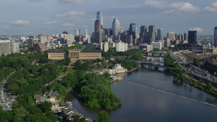 5K aerial video of Philadelphia Museum of Art, Fairmount Water Works, and skyline of Downtown Philadelphia, Pennsylvania Aerial Stock Footage | AX79_067