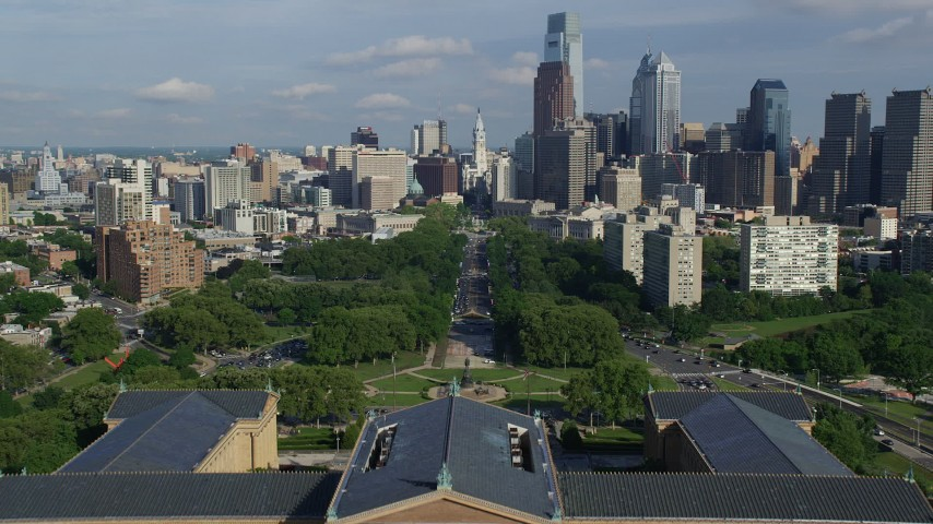 5K stock footage aerial video flying over Philadelphia Museum of Art to approach City Hall, Downtown Philadelphia, Pennsylvania Aerial Stock Footage | AX79_068
