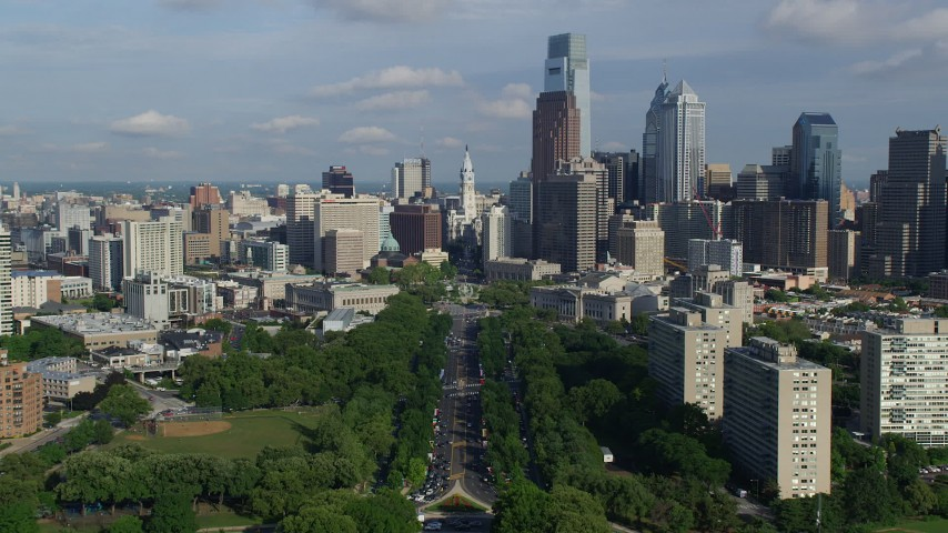 5K stock footage aerial video approaching Philadelphia City Hall and downtown skyscrapers in Downtown Philadelphia, Pennsylvania Aerial Stock Footage | AX79_069