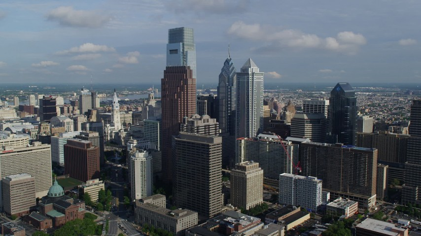 5K stock footage aerial video of Philadelphia City Hall and tall Downtown Philadelphia towers, Pennsylvania Aerial Stock Footage | AX79_070