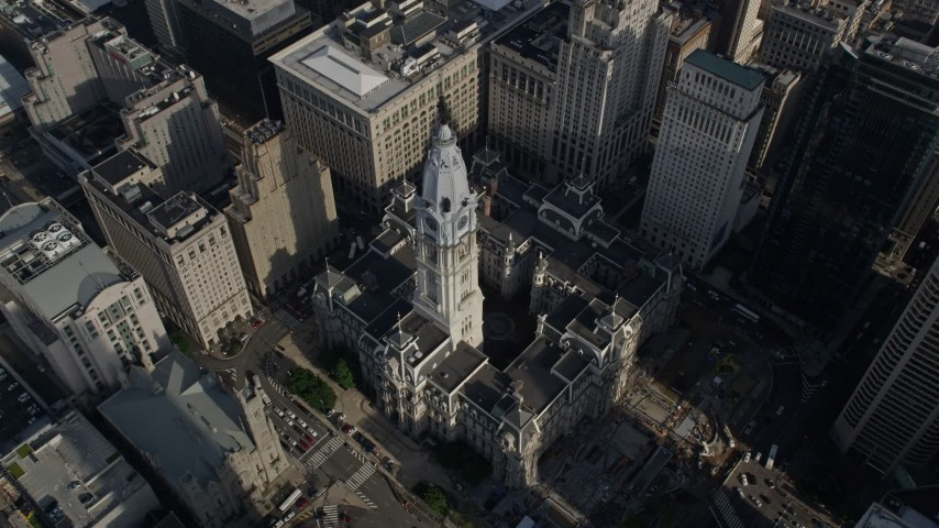 5K stock footage aerial video tilting to a bird's eye view of Philadelphia City Hall, Pennsylvania Aerial Stock Footage | AX79_072