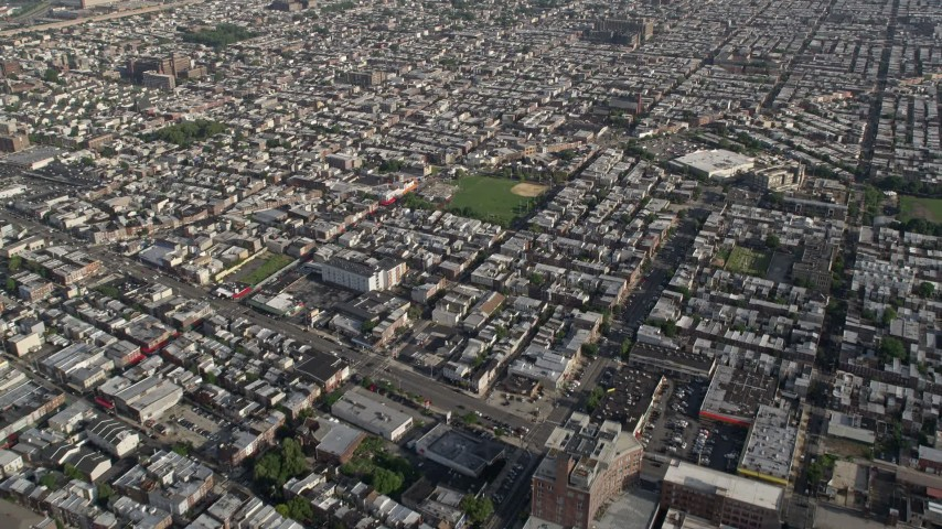 5K stock footage aerial video of baseball field and urban homes, South Philadelphia, Pennsylvania Aerial Stock Footage | AX79_074