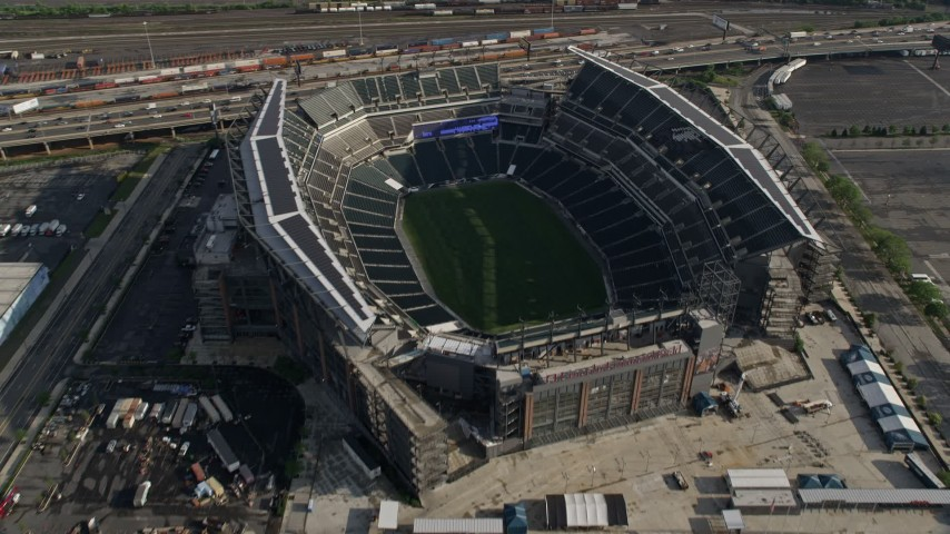 5K stock footage aerial video tilting to a bird's eye view of Lincoln Financial Field, Philadelphia, Pennsylvania Aerial Stock Footage AX79_079 | Axiom Images