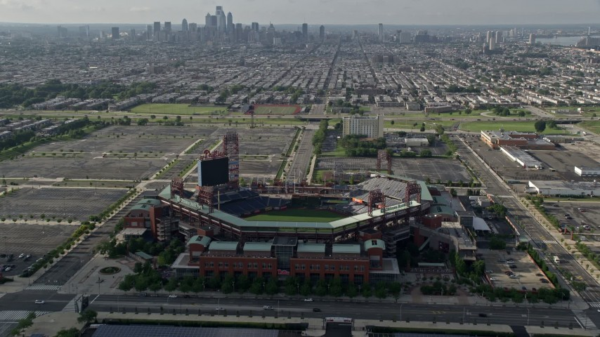 5K stock footage aerial video approaching I-95, Lincoln Financial Field, Citizens Bank Park in Philadelphia, Pennsylvania Aerial Stock Footage | AX79_082E