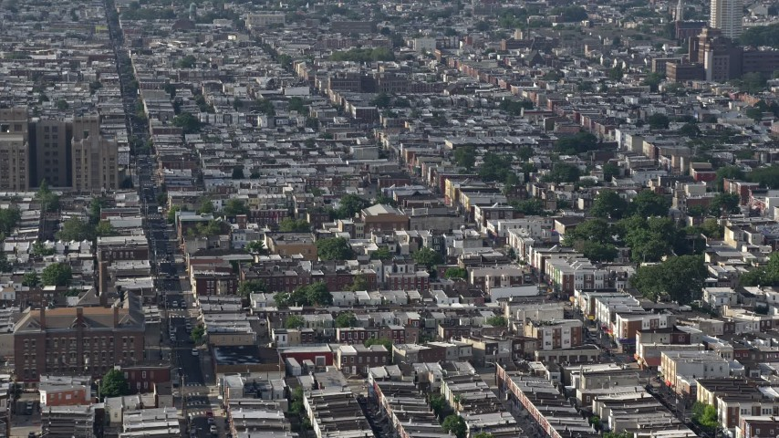 5K stock footage aerial video of urban neighborhoods and S 7th Street in South Philadelphia, Pennsylvania Aerial Stock Footage | AX79_085