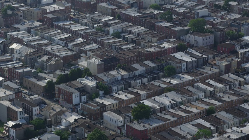 5K stock footage aerial video of an urban neighborhood in South Philadelphia, Pennsylvania Aerial Stock Footage | AX79_087