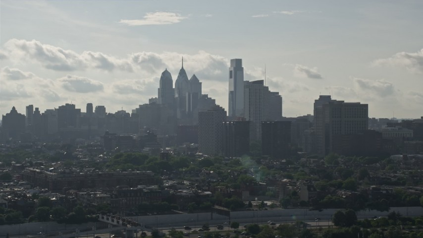 5K aerial stock footage video of the skyline, Downtown Philadelphia, Pennsylvania Aerial Stock Footage | AX79_097