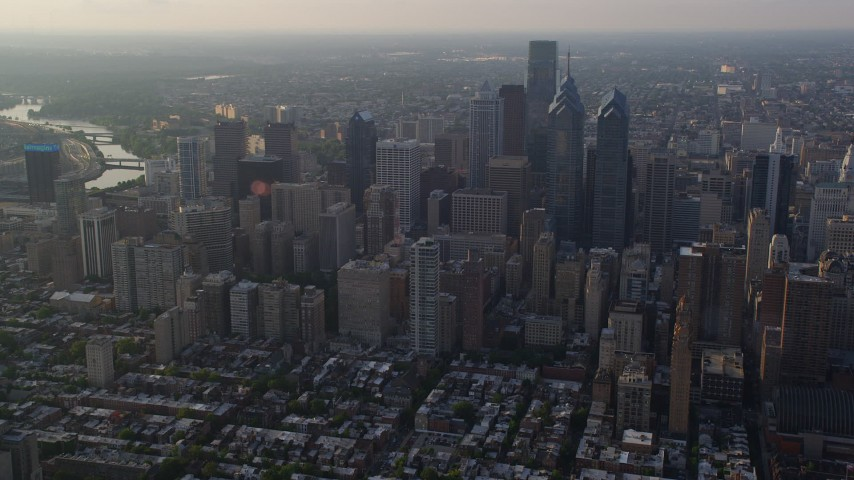 5K stock footage aerial video of Downtown Philadelphia skyscrapers and high-rises in Pennsylvania, Sunset Aerial Stock Footage | AX80_021