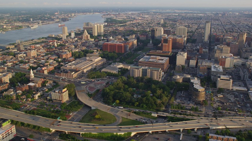 5K stock footage aerial video approaching Independence National Historic Park and Mall near Philadelphia Mint, Philadelphia, Pennsylvania, Sunset Aerial Stock Footage | AX80_025