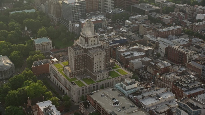5K stock footage aerial video orbiting the United States Customs House at sunset in Philadelphia, Pennsylvania Aerial Stock Footage | AX80_029