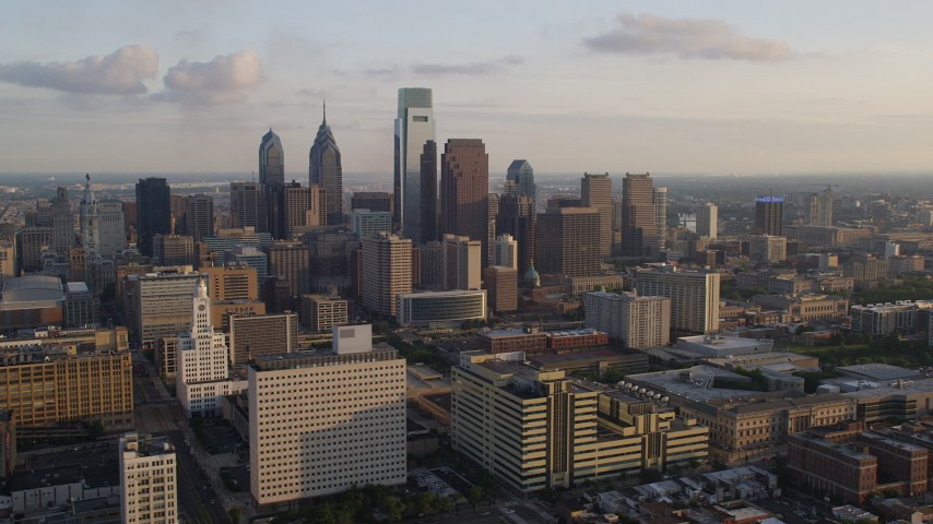 5K aerial stock footage video of Downtown Philadelphia skyscrapers, Pennsylvania, Sunset Aerial Stock Footage | AX80_050