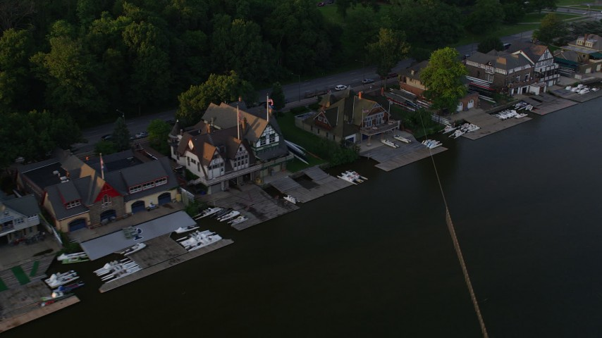 5K stock footage aerial video tilting and flyby Boathouse Row, Philadelphia, Pennsylvania, Sunset Aerial Stock Footage | AX80_066