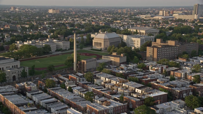 5K stock footage aerial video of Girard College campus building, North Philadelphia, Pennsylvania Sunset Aerial Stock Footage | AX80_068