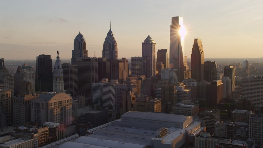 5K stock footage aerial video of Downtown Philadelphia's tall skyscrapers, Pennsylvania, Sunset Aerial Stock Footage | AX80_080