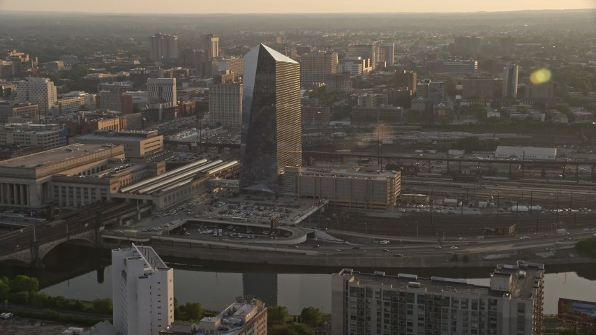 5K stock footage aerial video approaching Cira Centre in West Philadelphia, Pennsylvania, Sunset Aerial Stock Footage | AX80_083