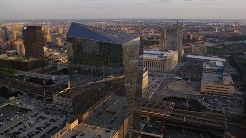 5K stock footage aerial video of Cira Centre office building in West Philadelphia, Pennsylvania, Sunset Aerial Stock Footage | AX80_084