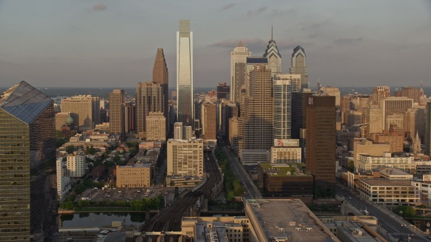 5K aerial stock footage video of Downtown Philadelphia skyscrapers, Pennsylvania, Sunset Aerial Stock Footage | AX80_086