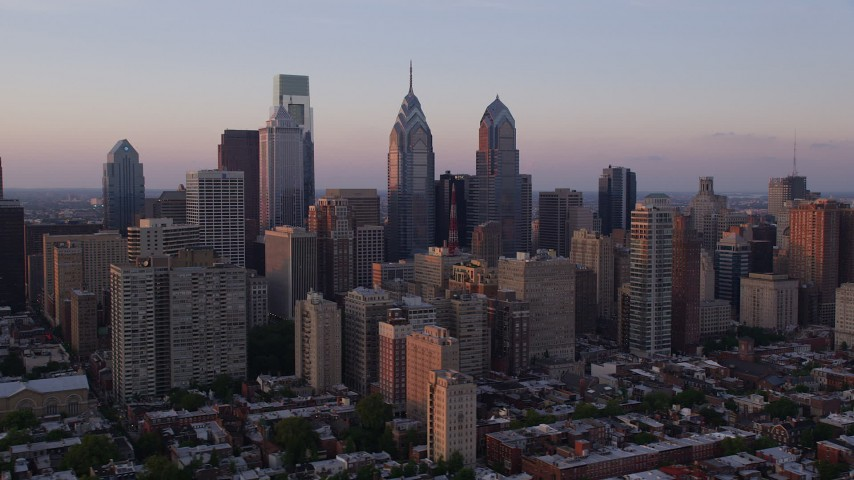 5K aerial stock footage video of Downtown Philadelphia city buildings in Pennsylvania, Sunset Aerial Stock Footage | AX80_128