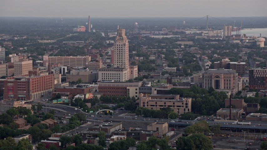 5K aerial video of Camden County City Hall and US District Court in Camden, New Jersey, Sunset Aerial Stock Footage | AX80_135