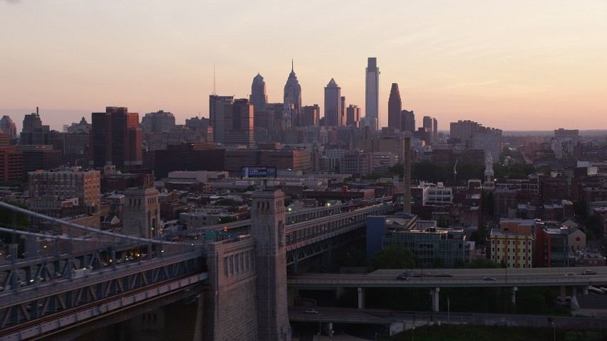 5K aerial video of the Downtown Philadelphia skyline at sunset, Pennsylvania Aerial Stock Footage | AX80_139