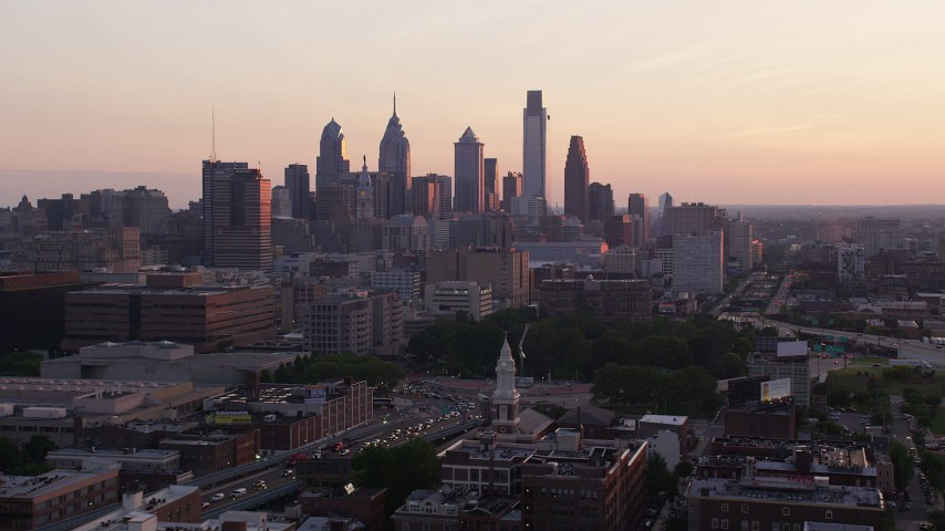 5K stock footage aerial video of the skyline of Downtown Philadelphia at sunset, Pennsylvania  Aerial Stock Footage | AX80_140