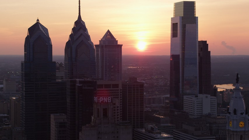 5K stock footage aerial video of Downtown Philadelphia's towering skyscrapers, Pennsylvania, Sunset Aerial Stock Footage | AX80_148