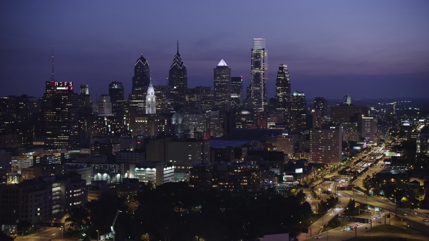 5K aerial stock footage video of the Downtown Philadelphia skyline, Pennsylvania, Night Aerial Stock Footage | AX81_011