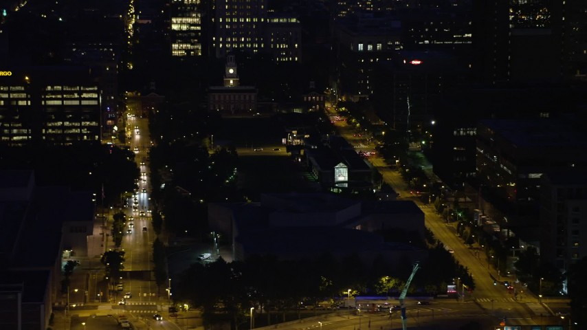 5K aerial video of Independence Hall at the end of Independence Mall in Philadelphia, Pennsylvania, Night Aerial Stock Footage | AX81_012