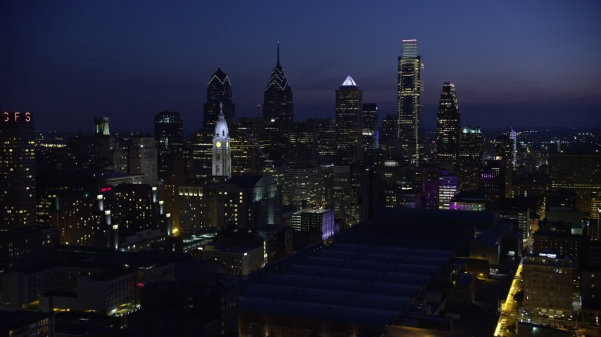 5K stock footage aerial video of Downtown Philadelphia skyscrapers, city hall, and Pennsylvania Convention Center, Pennsylvania, Night Aerial Stock Footage   AX81_013E
