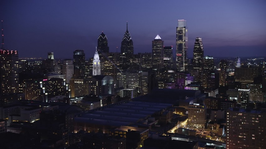 5K stock footage aerial video of Downtown Philadelphia skyscrapers, Pennsylvania Convention Center, and City Hall, Pennsylvania, Night Aerial Stock Footage | AX81_014