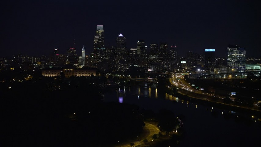 5K aerial video of Philadelphia Museum of Art, Schuylkill River and the Downtown Philadelphia skyline, Pennsylvania, Night Aerial Stock Footage | AX81_027