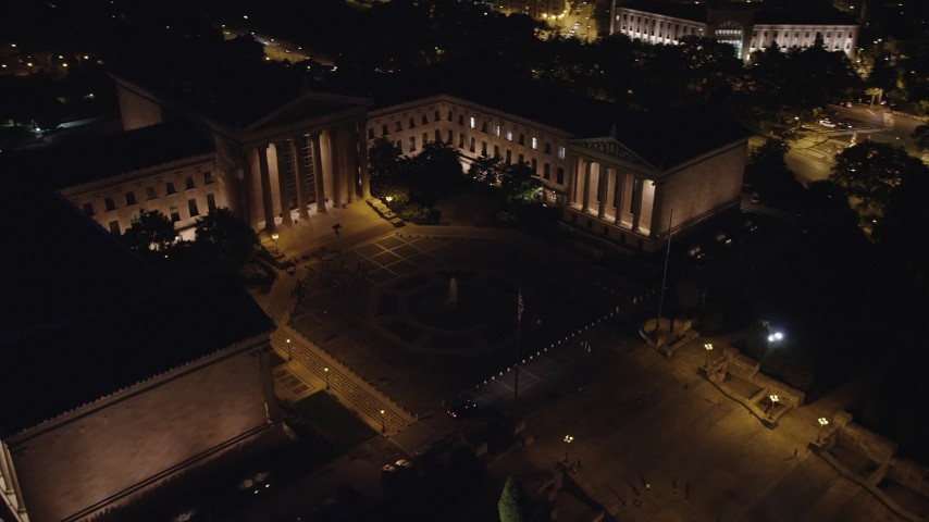5K aerial video orbiting Philadelphia Museum of Art and fountain, Pennsylvania, Night Aerial Stock Footage | AX81_031