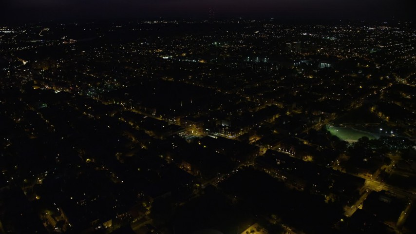 5K stock footage aerial video of Eastern State Penitentiary in North Philadelphia, Pennsylvania, Night Aerial Stock Footage | AX81_049