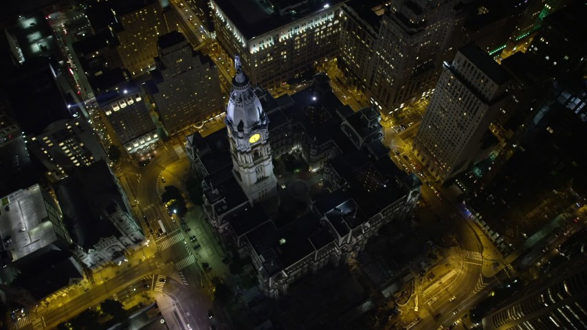 5K stock footage aerial video of a bird's eye view of Philadelphia City Hall, Pennsylvania, Night Aerial Stock Footage | AX81_055