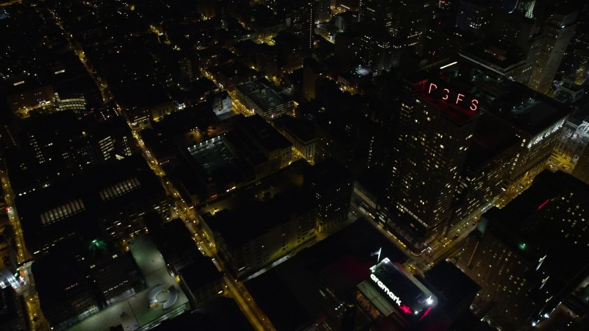 5K aerial video flying Downtown Philadelphia office buildings and streets, Pennsylvania, Night Aerial Stock Footage | AX81_056