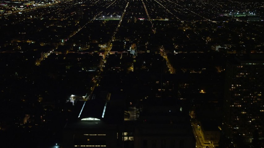 5K stock footage aerial video flying over the Mall to approach Independence Hall, Philadelphia, Pennsylvania, Night Aerial Stock Footage | AX81_058