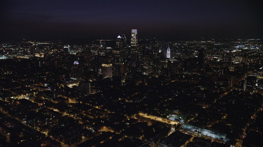 5K stock footage aerial video approaching Downtown Philadelphia, Pennsylvania, Night Aerial Stock Footage | AX81_062