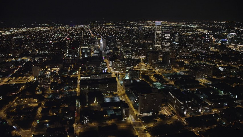 5K aerial video of Downtown Philadelphia skyscrapers at night in Pennsylvania Aerial Stock Footage | AX81_066