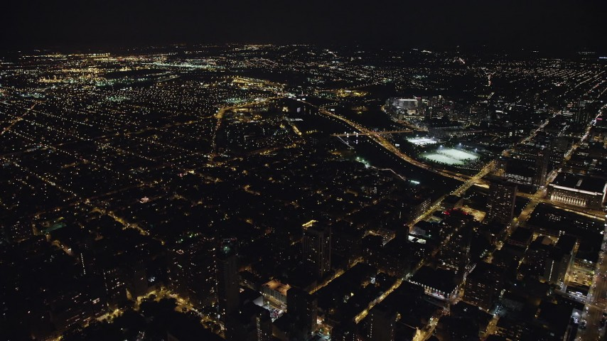 5K stock footage aerial video of urban neighborhoods near the Schuylkill River, South Philadelphia, Pennsylvania Night Aerial Stock Footage | AX81_069