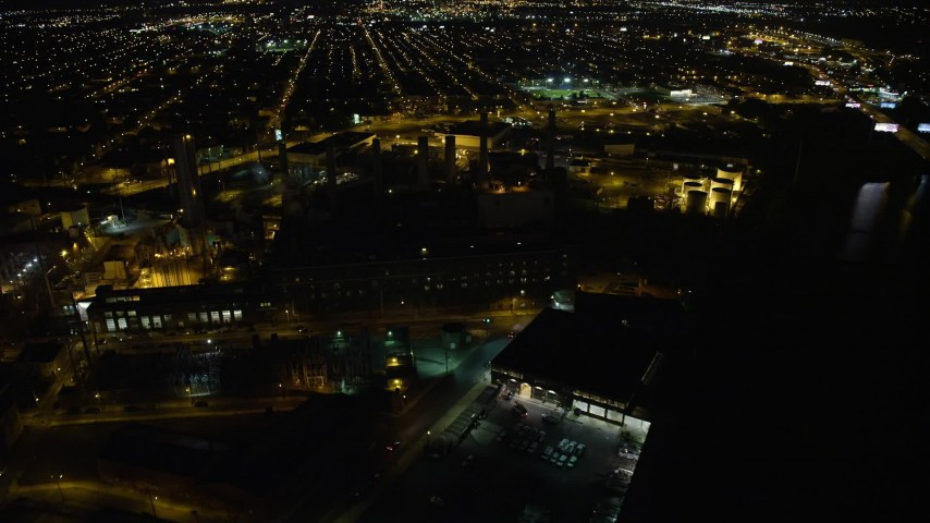 5K stock footage aerial video of Veolia Energy power plant in South Philadelphia, Pennsylvania, Night Aerial Stock Footage | AX81_078