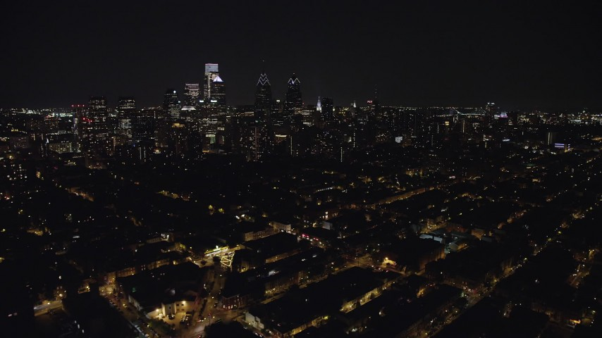 5K stock footage aerial video of Downtown Philadelphia high-rises and skyscrapers in Pennsylvania, Night Aerial Stock Footage | AX81_079