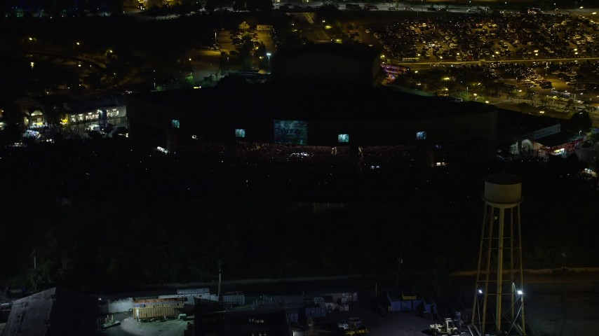 5K aerial video of a music concert at BB&T Pavilion, Camden, New Jersey Night Aerial Stock Footage | AX81_086