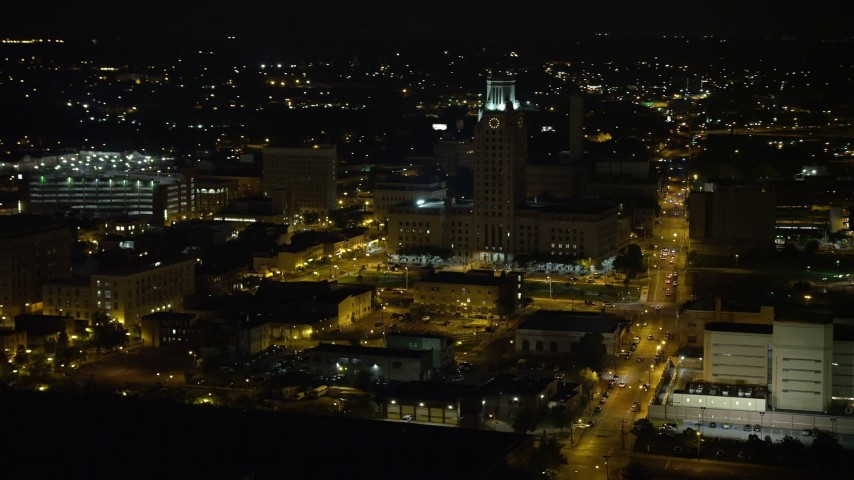 5K stock footage aerial video of Camden County City Hall, New Jersey Night Aerial Stock Footage | AX81_088