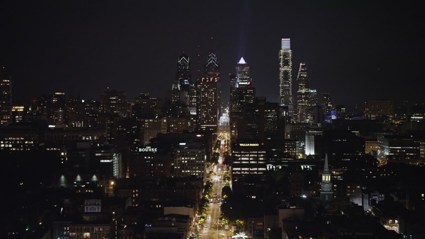 5K aerial video of the Downtown Philadelphia skyline, reveal Customs House, Pennsylvania, Night Aerial Stock Footage AX81_090