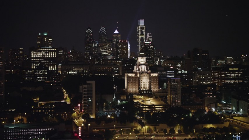 5K stock footage aerial video of Downtown Philadelphia skyline and the Customs House in Pennsylvania, Night Aerial Stock Footage | AX81_091