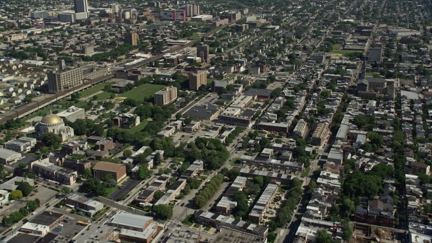5K stock footage aerial video of apartment buildings and urban neighborhoods in North Philadelphia, Pennsylvania Aerial Stock Footage | AX82_005