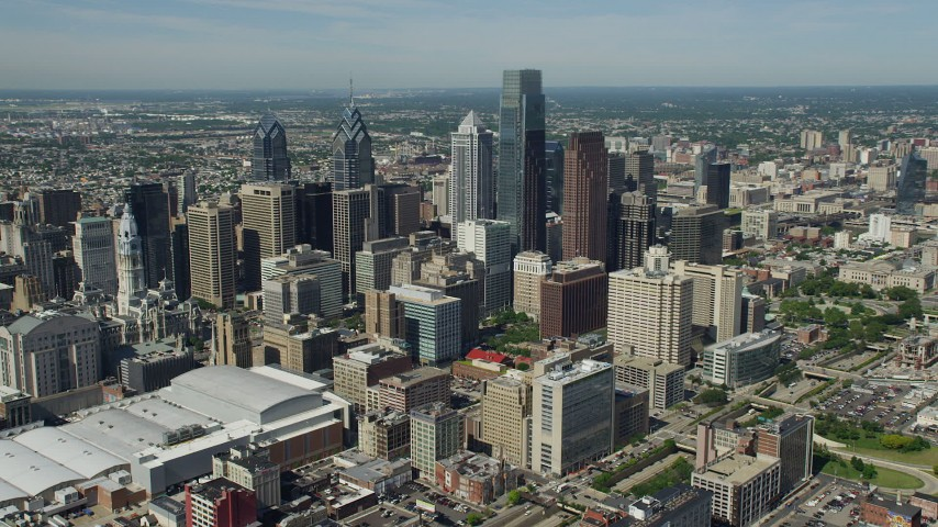 5K aerial video of tall downtown skyscrapers in Philadelphia, Pennsylvania Aerial Stock Footage | AX82_008